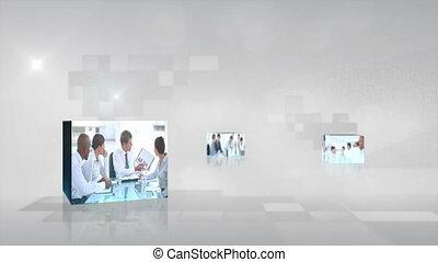 gens, vidéo, réunion, business