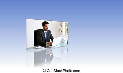 gens, vidéos, travail, business