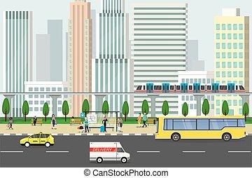 gens, vie publique, différent, route, stand, transport, concept, aller, urbain