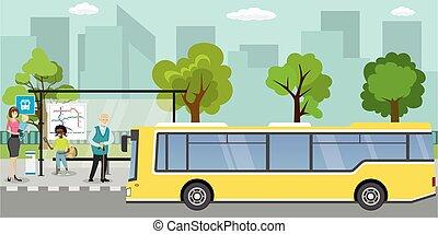 gens, vie publique, différent, transport, arrêt, urbain, concept, autobus