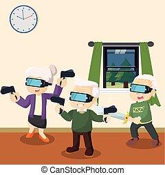 gens, vieux, jouer, réalité virtuelle