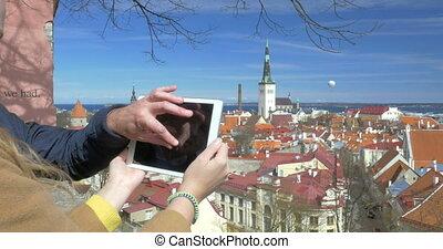 gens ville, prenant photos, historique, tallinn, vue dessus