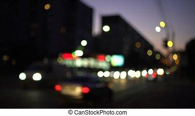 gens, voitures, défaillance, temps, foyer, nuit, mouvement, dehors
