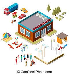 gens, voitures, icônes, équipement, jardin enfants, cour de récréation, bâtiment