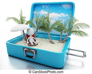gens, voyage, vacances, plage blanche, suitcase., 3d
