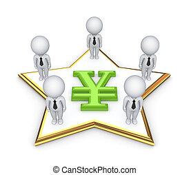 gens, yen, autour de, symbole., 3d