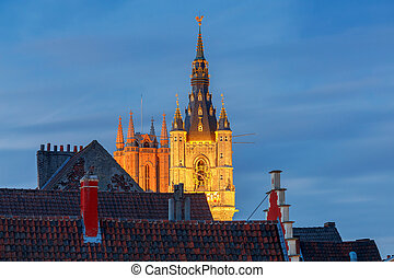 Gent. Tower Belfort. - View of the central city tower...