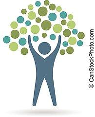 gente, árbol, icono, circles., eco, vida, logo., vector, diseño gráfico, ilustración