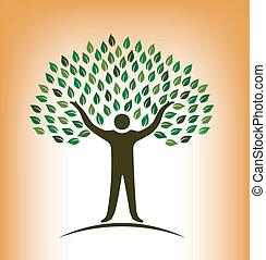 gente, árbol, vector, logotipo