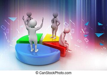 gente, 3d, gráfico, pastel, empresa / negocio, competición