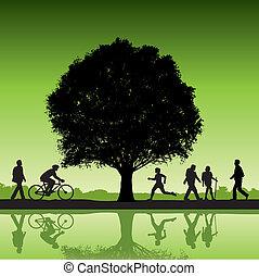 gente, aire libre