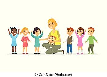 gente, -, aislado, ilustración, profesor, guardería infantil, caracteres, caricatura, niños