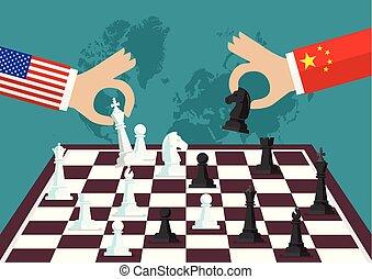 gente, ajedrez, dos, juego