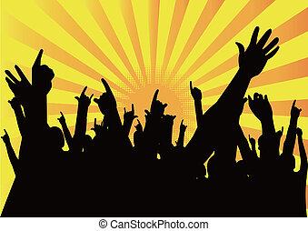 gente, arriba, manos