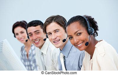 gente, auriculares, centro, empresa / negocio, utilizar, ...