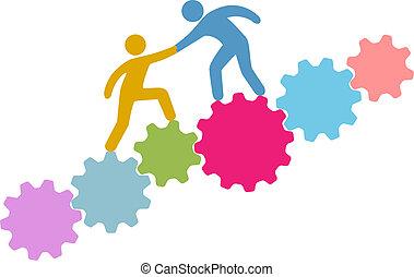 gente, ayuda, conectar, ensamblar, tecnología