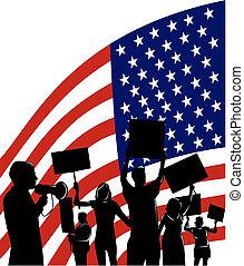 gente, bandera estadounidense, protestar