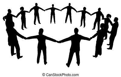 gente, círculo, multisex