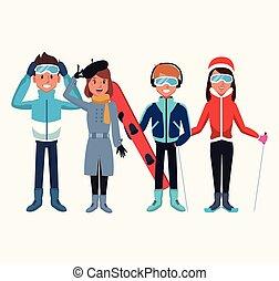 gente, caricatura, invierno