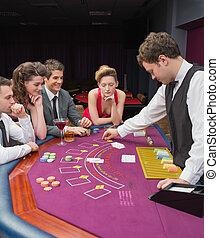 gente, casino, póker que juega