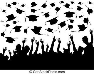 gente, celebrar, graduación, plano de fondo
