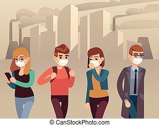 gente, ciudad, smog., mujer hombre, protector, mascarillas, industrial, niebla tóxica, polvo, contaminación, tóxico, aire, perjudicial, ambiental, plano, vector, concepto