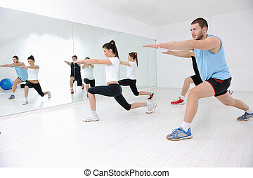gente, club, grupo, condición física, joven