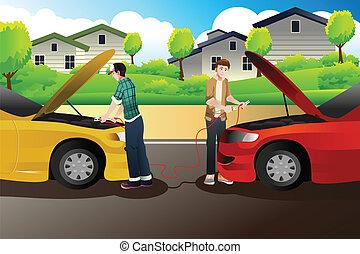gente, coche, dos, salto, comienzo, tratar