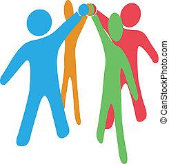 gente, colaborar, equipo, arriba, ensamblar, manos juntos