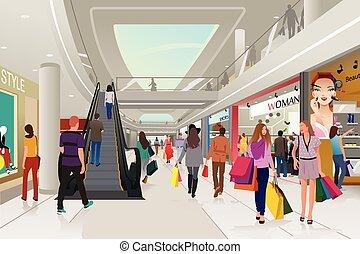 gente, compras, en, un, alameda