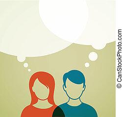 gente, con, discurso, burbujas