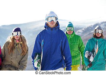 gente, con, snowboards