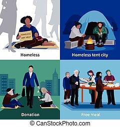 gente, concepto, diseño, sin hogar, 2x2