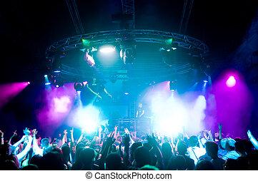 gente, concierto, bailando