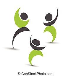 gente, conectado, símbolos