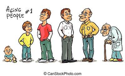 gente, -, conjunto, 1, envejecimiento