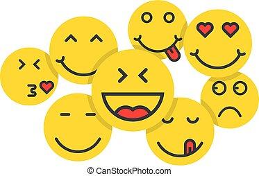 gente, conjunto, emoji, multitud, amarillo, como