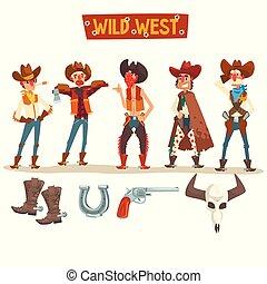 gente, conjunto, oeste, accesorios, ilustración, equipo, vector, occidental, plano de fondo, vaqueros, salvaje, blanco