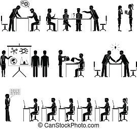 gente, conjunto, siluetas, reuniones, empresa / negocio