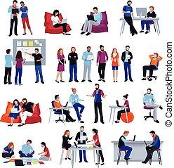 gente, coworking, aislado, conjunto, iconos