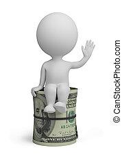 gente, dólares, -, pequeño, rollo, 3d