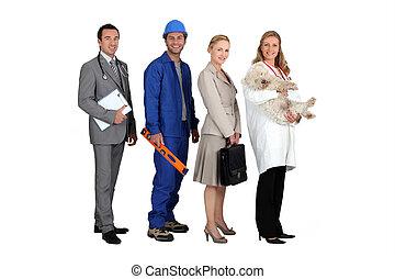 gente, de, diferente, profesiones