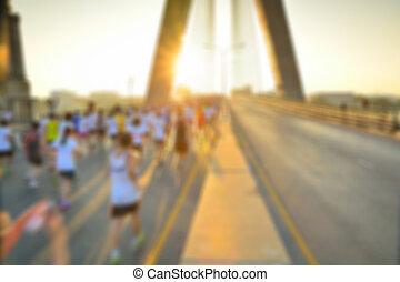 gente, defocus, imagen, confuso, carrera, o, maratón