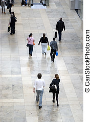 gente, dentro, centro comercial