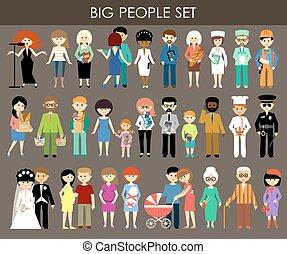 gente, diferente, ages., conjunto, profesiones