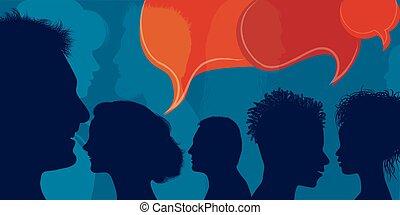 gente, discurso, multiétnico, burbuja, multitud, ...