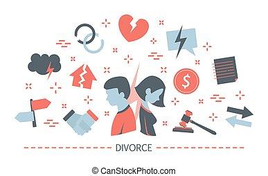 gente, divorcio, concept., arriba, idea, interrupción