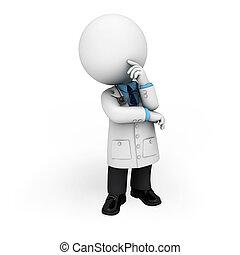 gente, doctor, 3d, blanco