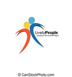 gente, dos, saltar, vector, joy., logotipo, icono
