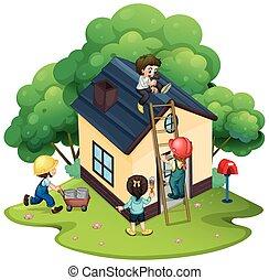 gente, edificio, casa, juntos